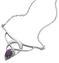 Picture of Laced Silver Pendant, with Amethyst Gemstone
