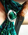 Picture of Tartan Scarf in Twirled Silk &amp; Velvet (Blend) With Celtic Scarf Ring