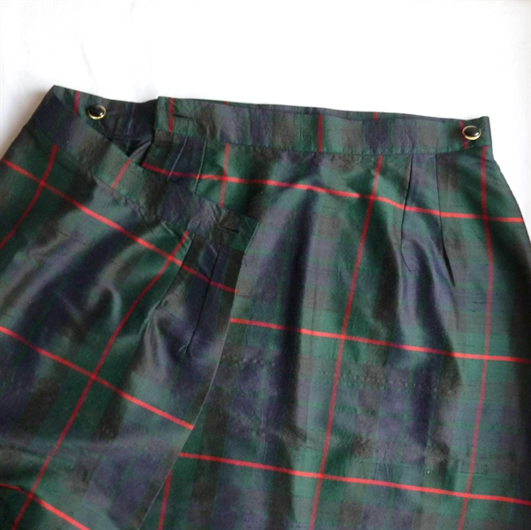 Silk Tartan Pencil Skirt And Detailed Jacket Two Piece Suit